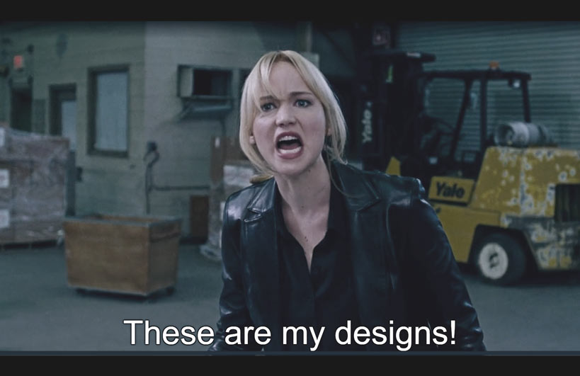 Scene in the movie when Joy finds out they are stealing her patent, at 1 hour and 34 minutes of movie.